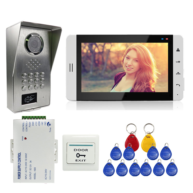 Grenseure FREE SHIPPING 7 Touch White Monitor Video Door Phone Intercom System + Metal RFID Code Keypad Outdoor Camera + Power original 7 inch touch screen dahua dh vth1550ch color monitor with to2000a outdoor ip metal villa outdoor video intercom system