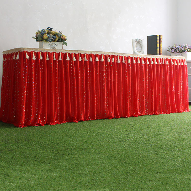 10 ft Wedding table skirts elegant luxury sparky table skirt for party decoration european tassel wedding