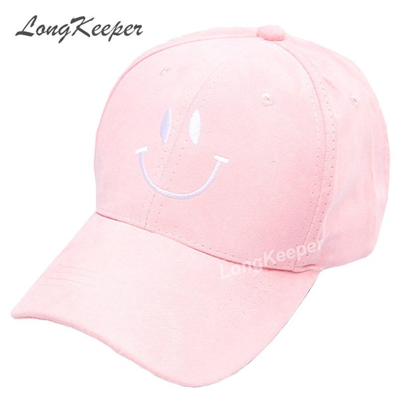 Long Keeper 2017 New Fashion Adult baseball Cap Cotton Caps Women Youth Smile Solid Cap Women Pink Hats Snapback Women Caps 50pcs cheap heather slouch beanie caps mens winter knitting baggy skull hats women knitted beanies new oversized skullies cap