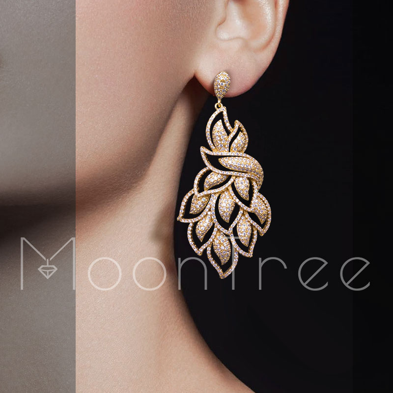 MoonTree 70mm Fashion Peacock Tail Shape Gold Colors Copper Bijoux Shining Cubic Zircons Earrings For Women Party Accessories shining rhinestone peacock colorful femininity earrings golden pair