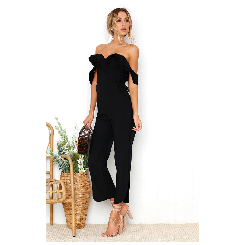 Sexy backless off shoulder black jumpsuit women Tiered ruffle high waist jumpsuit romper Split casual overall femme