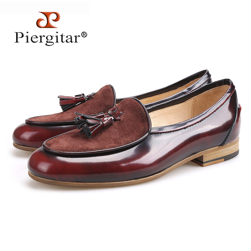 Piergitar brand 2018 Handmade leather men tassel loafers Fashion Men Casual Shoes party and banquet smoking