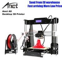 Anet A8 3D принтеры Высокая точность Imprimante 3d DIY Kit 0,4 мм сопло широкоформатной печати Размеры 3D Настольный акриловый ЖК дисплей Экран принтер