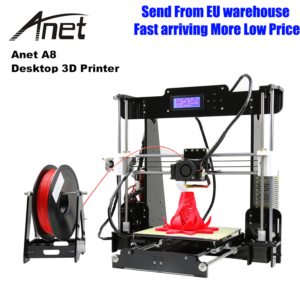 Anet A8 3D Imprimante haute précision Imprimante 3D kit de bricolage 0.4mm buse grande taille d'impression 3D bureau acrylique LCD écran Imprimante