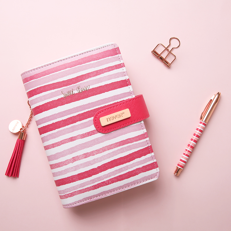 The Pink Stripes Notebook Loose-leaf Agenda Organizer A6 Planner Personal Diary Book Office&School Supplies new macaron candy color notebook office personal planner organizer cover a5 a6 loose leaf diary agenda