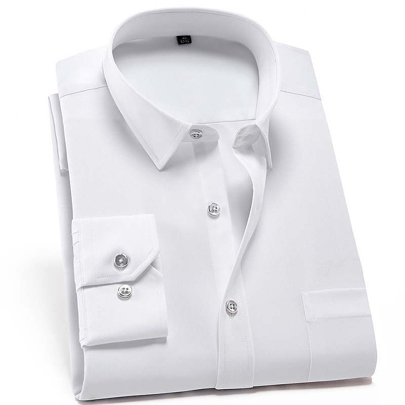 Men's Classic Standard-fit Non Iron Stretch Dress Shirt with Chest Pocket Long Sleeve Formal Business Solid White Basic Shirts