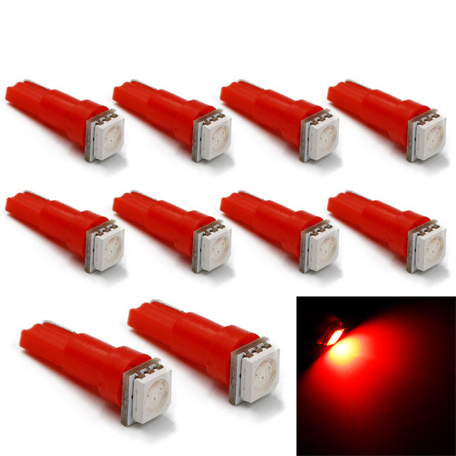 10PCS T5 5050 1-SMD LED Automotive Car Lights Bulb Dashboards Gauge Indicator Bulbs Ignition Lights For All T5 Wedge Type