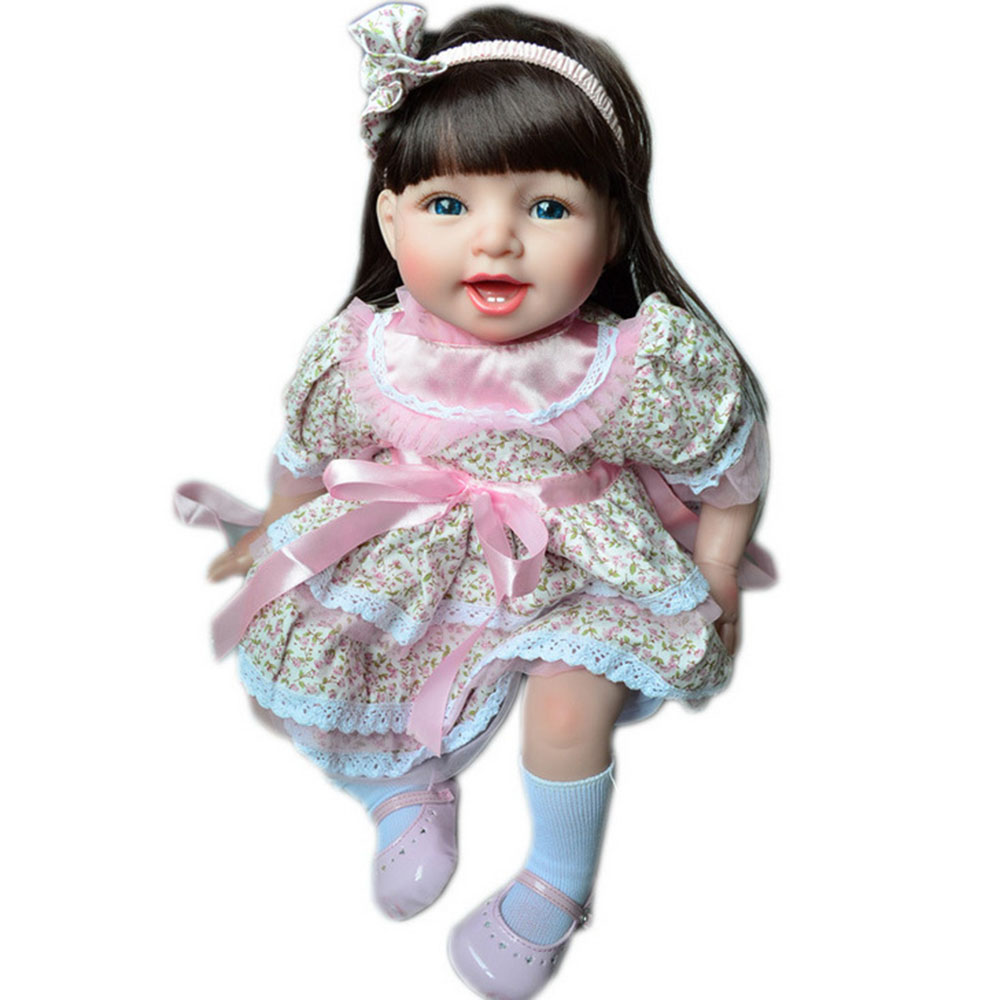 55cm Smile Soft Silicone Reborn Doll Lovely Princess Newborn Baby Girl with Cloth Body Toy for Kids Birthday Christmas Gift more longer new style 183cm 68cm 5mm natural rubber non slip tapete yoga gym mat lose weight exercise mat fitness yoga mat
