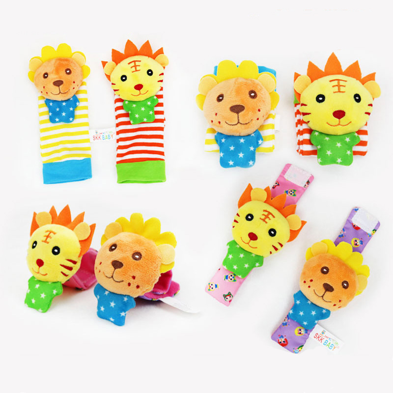 2pcs Infant Baby Wrist Rattle Toys Newborn Plush Socks Lion Elephant Animal Hand Rattle And Foot Socks 0-24 Months