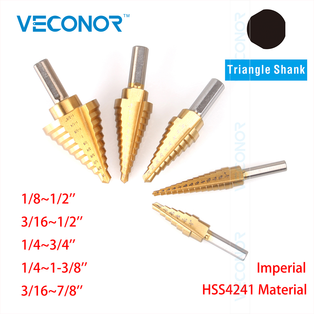 Veconor 5 pcs imperial impact HSS step cone drill bit titanium nitride coated hole cutter tool set triangle shank g 3pcs set quick change hex shank larger titanium coated m2 tool step drill bit set 71960 t