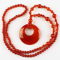 (1 piece/lot) 50x7mm New Fashion Natural Red Agate stone Beads Circle Pendant Beaded Necklace 27""