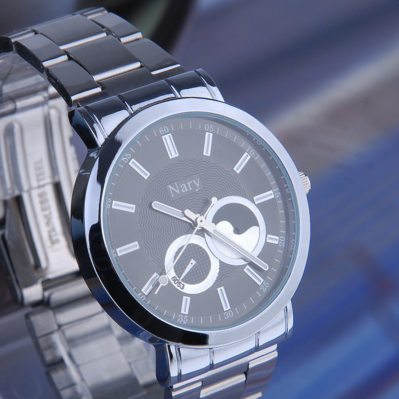 Luxury Brand NARY Full Silver Stainless Steel Couple s Quartz Wrist watches Waterproof Retro Male Business