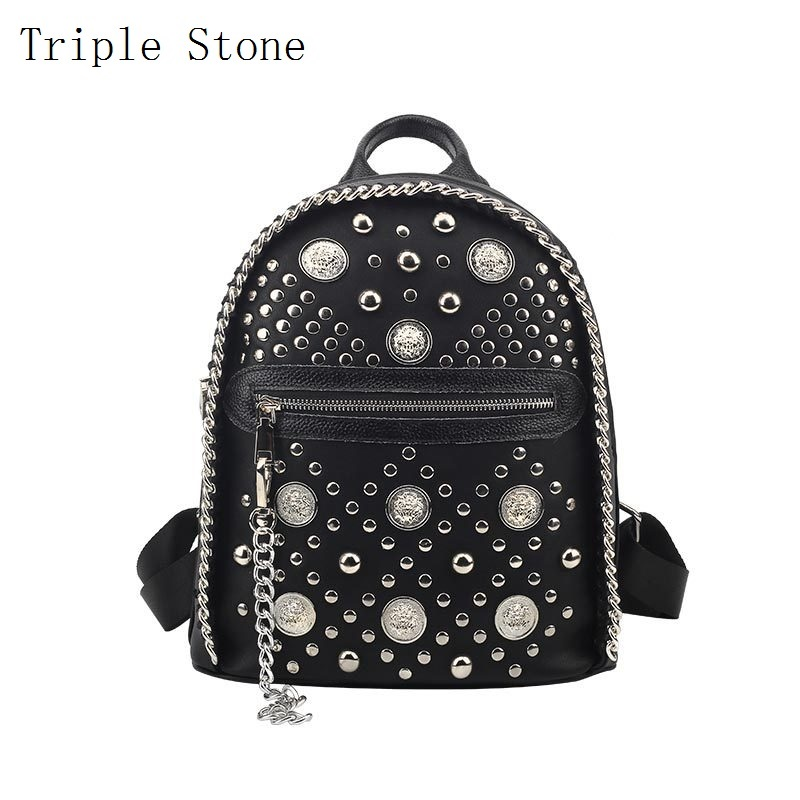 Lion Head Sliver Rivet Women Leather Backpack Punk Fashion Style Female Small Daily Shoulder Backpack Knitting Weave Chain Girl fashion design women backpack leather star rivet black female youth satchel