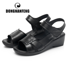 DONGNANFENG Women's Ladies Old Mother Female Woman Cow Genuine Leather Shoes Sandals Summer Cool Beach Hook Loop Casual YLD-6608