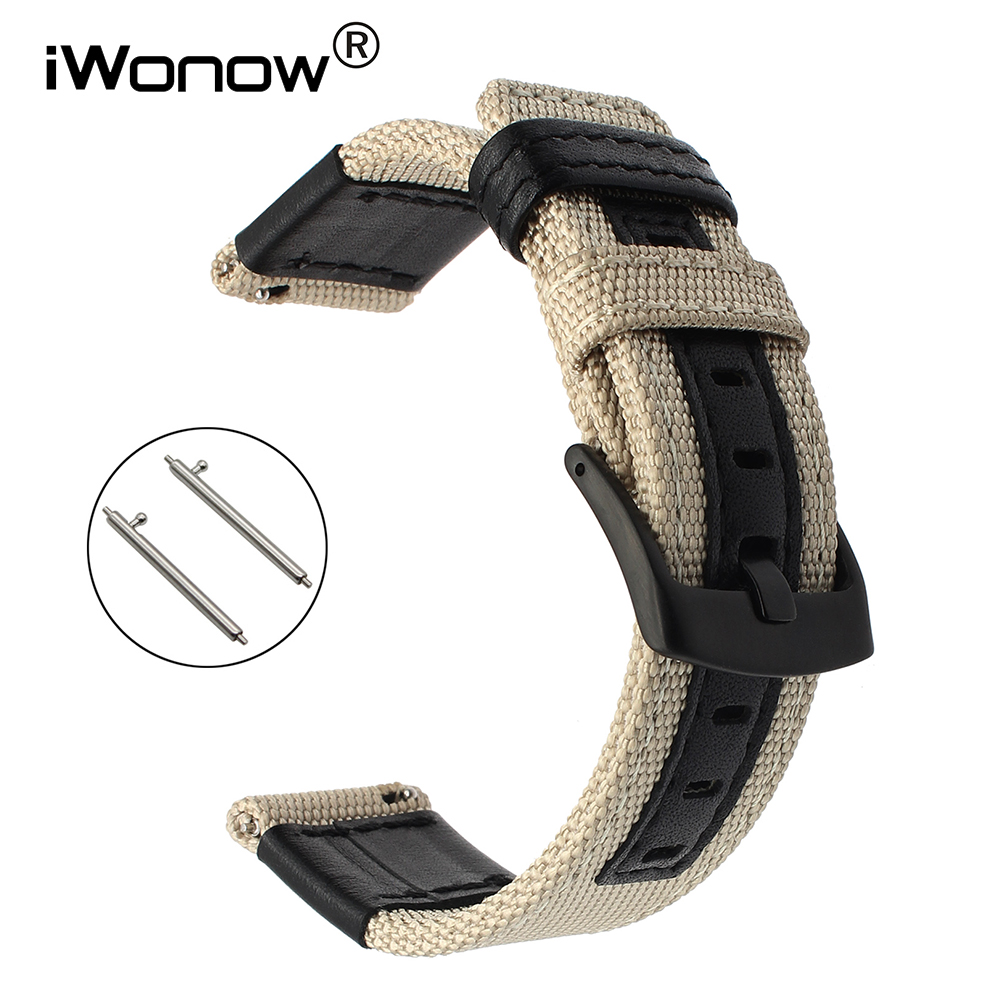 22mm Genuine Nylon & Leather Watchband Quick Release for Samsung Gear S3 Classic Frontier Gear 2 Neo Live Watch Band Wrist Strap