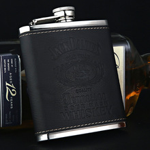 7oz Portable Whisky Hip Flask with PU Leather Mini Business Men Flagon 304 Stainless Steel Alcohol Flasks Vodka Best Man Gift