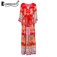 Everkaki Gypsy Collective Lotus Gown Boho Style Long Dress V Neck High Waist Flare Sleeve Print