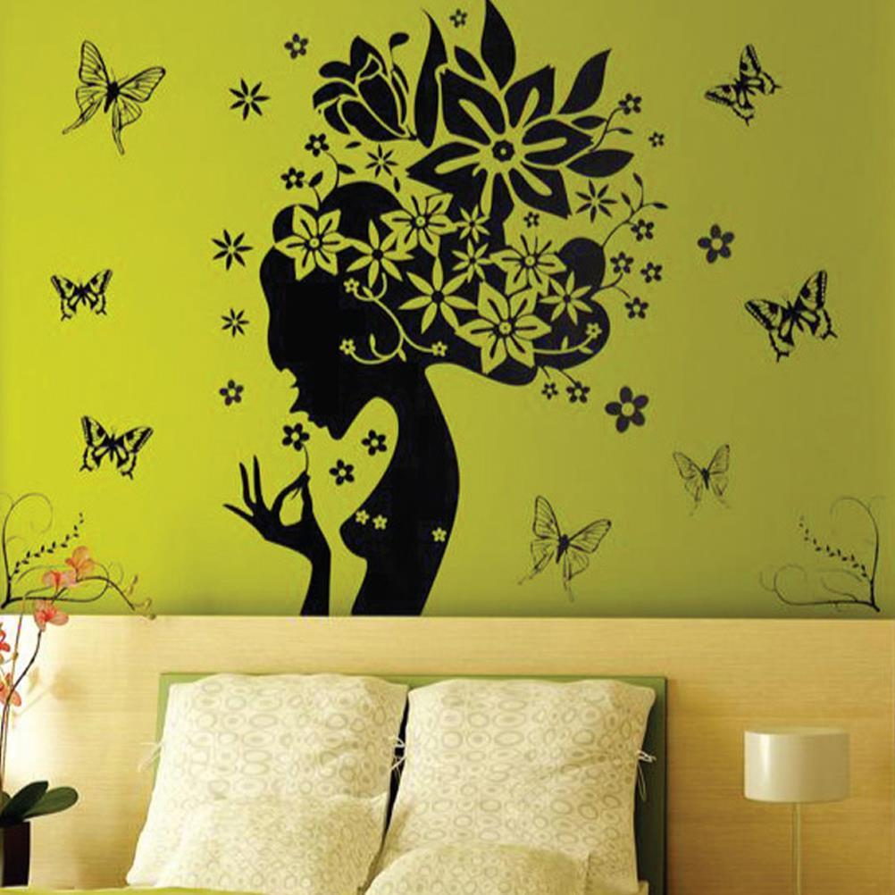 1pcs 50*70cm Wall Sticker Chic Butterfly Flower Fairy Girl ...