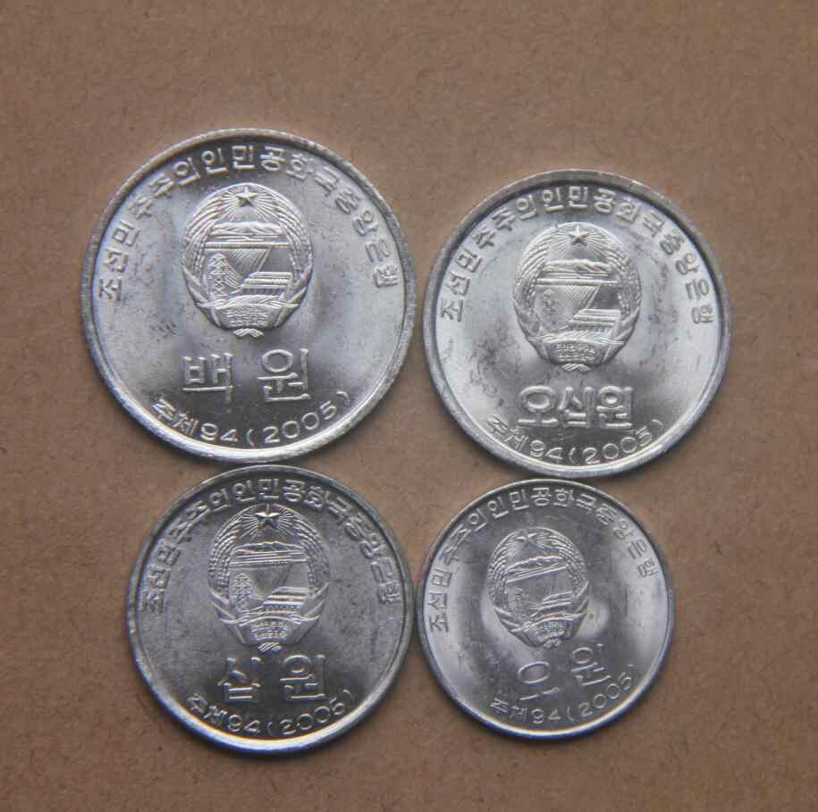 Набор 4 шт. Северная Корея 5 10 50 100 выигран монеты мира для сбора 100% настоящие и оригинальные монеты Новый случайный год