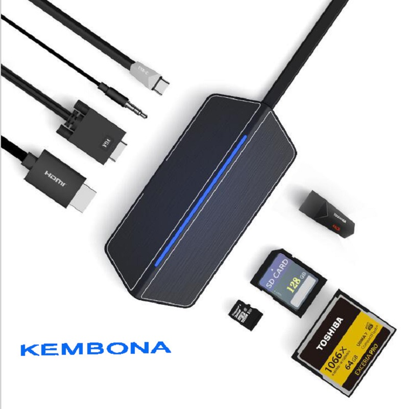 KEMBONA Type-C Hub 8 in 1 USB C Hub adapter with 1*HDMI 1*VGA 1*3.5mmHeadset connector USB 3.0 SD/TF/CF Card slots Charging port пылесос karcher puzzi 8 1 c 1 100 225