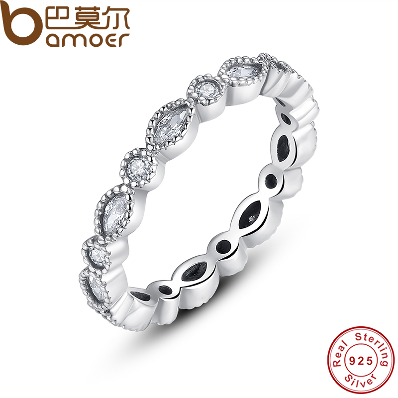 BAMOER 925 Sterling Silver Alluring Brilliant Marquise Stackable Finger Ring with Clear CZ Original Fine Jewelry