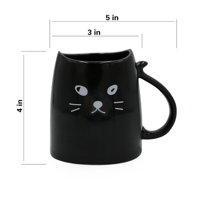 Teagas Cool Cat Coffee Mugs 12 oz – Black & White Cat Morning Coffee Milk Tea Ceramic Mugs Set