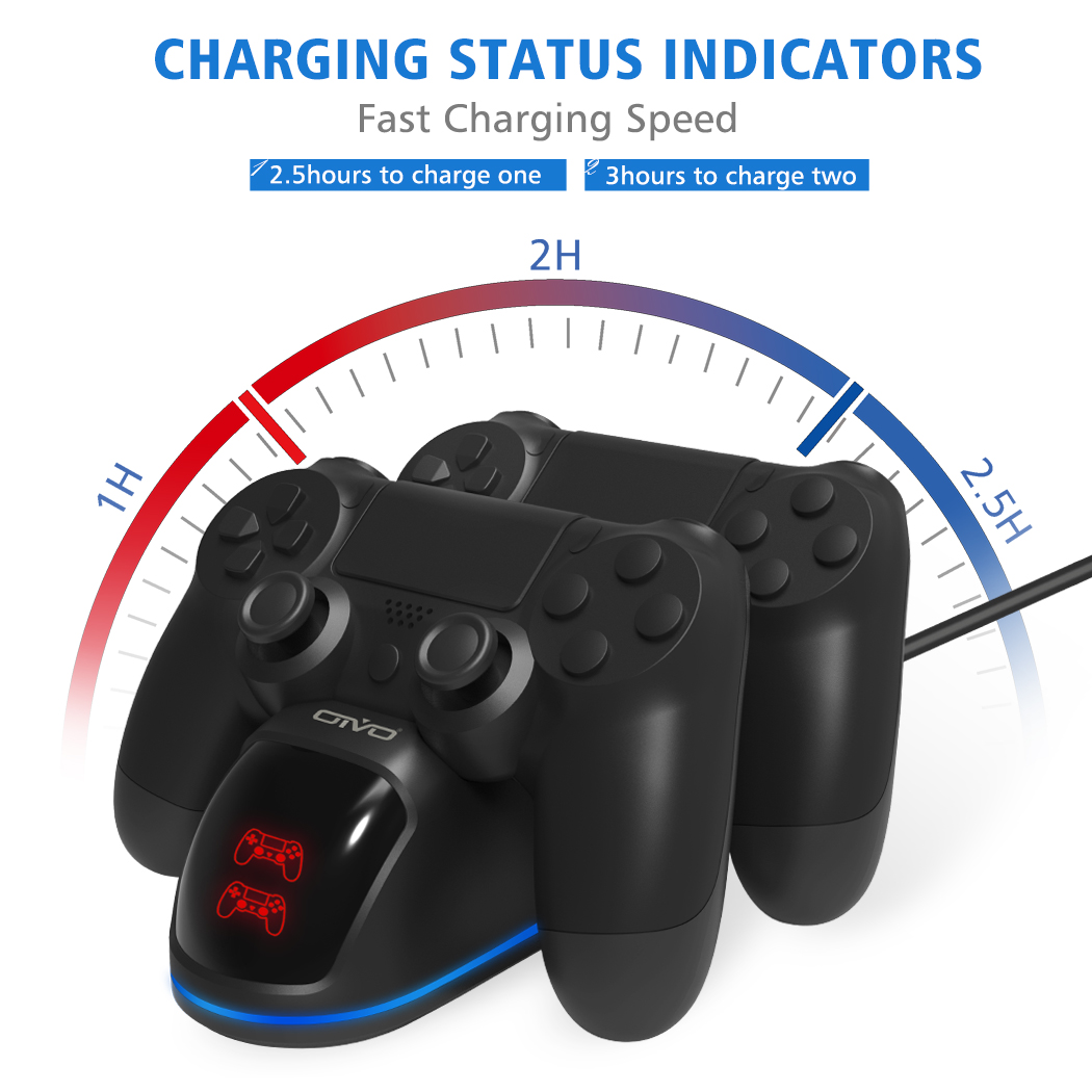 OIVO Fast PS4 Controller Charging Dock Station Dual Charger Stand with Status Display Screen for Play Station 4/PS4 Slim/PS4 Pro 4