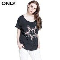 ONLY Brand Women Rivet Bat Sleeve Black T Shirts Sequins T Shirt 114341001