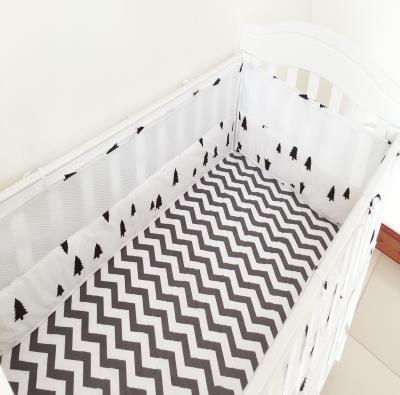 4 stk. Crib Bumpers Beautiful Mesh Cot Bumper Bomull Trykk Pustende Semi-Pustende Baby Bed Mesh Cot Bumper Babyseng