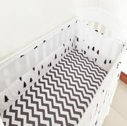 4 Pcs Crib Bumpers Beautiful Mesh Cot Bumper Cotton Prints Breathable Semi-Breathable Baby Bed Mesh Cot Bumper Baby Bedding