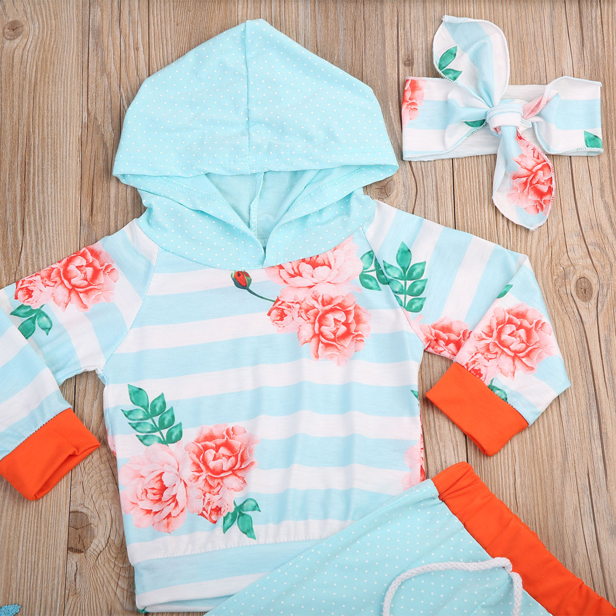 3Pcs Toddle Kids Baby Girls Clothes Set Floral Striped Polka Dot Long Sleeve Tops Hooded Long Pants Headband Outfits Clothes