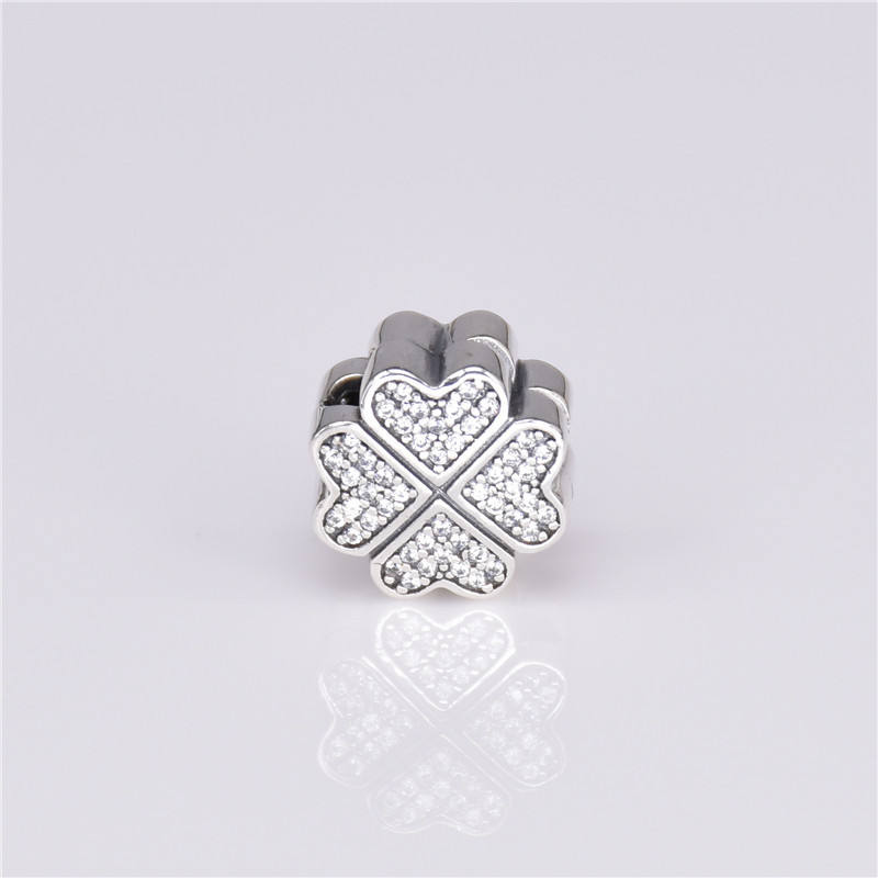 Spinner Clover Petals Of Love Clip Charm Beads Fit Pandora Bracelet With Clear Cz Diy Jewelry Accessories Jewelry & Accessories Beads & Jewelry Making