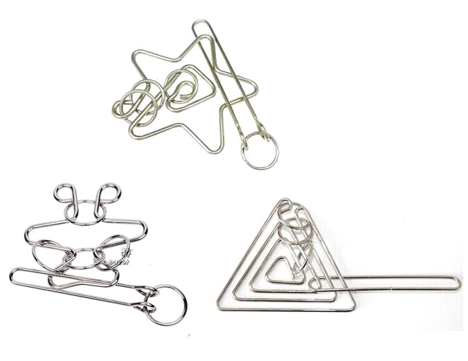 Metal Wire Puzzle Educational Rings Brain Teaser Game Toys For Adults Children
