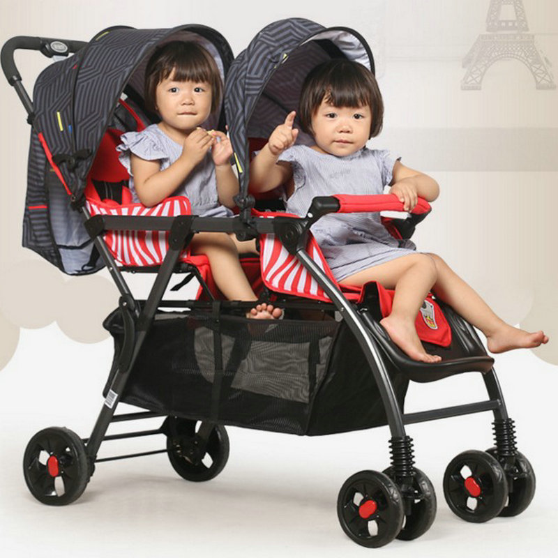 Portable Twins Stroller of 35cm extra widen seat, Good Shock Proof Twins Stroller, Tandem Stroller with Removable Canopy fashion twins stroller four color to choose hot twins baby stroller with good shock absorption folded double child stroller