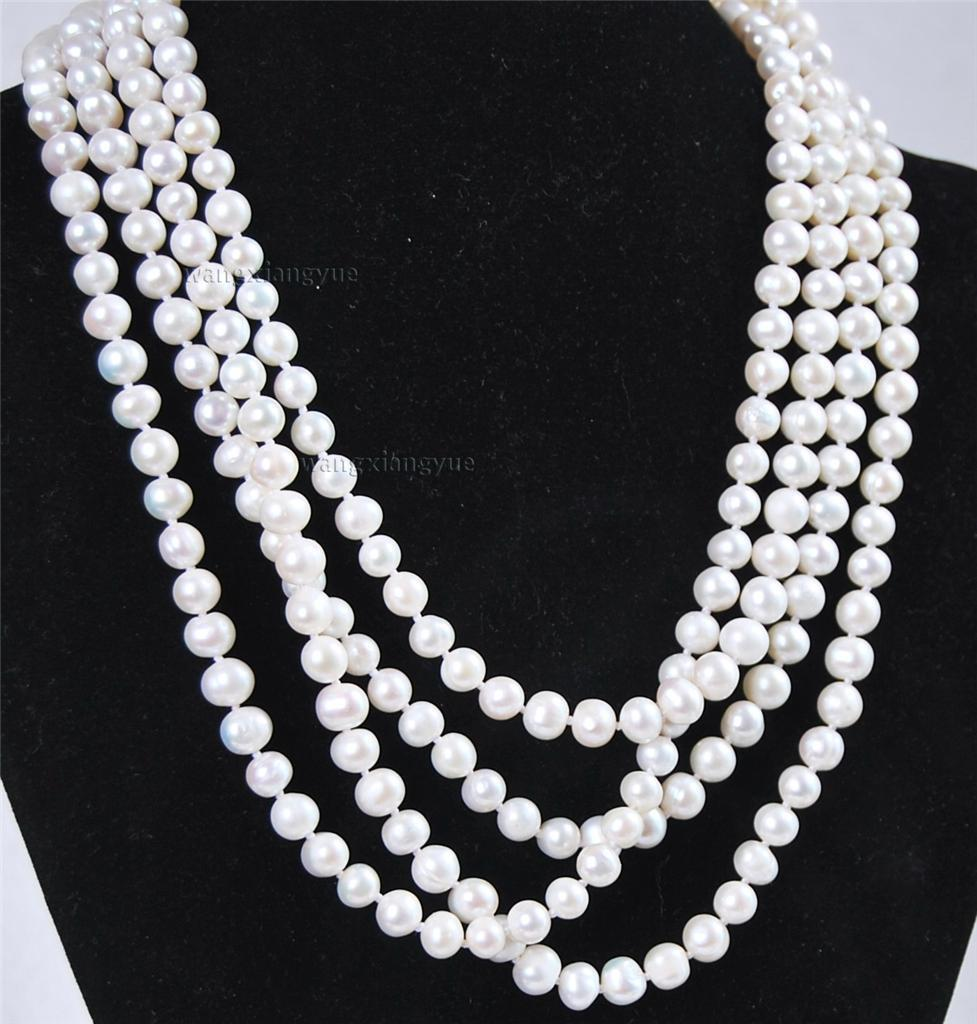 Super long 7 8mm Natural White Akoya Cultured Pearl Necklace 80 Hand Knotted