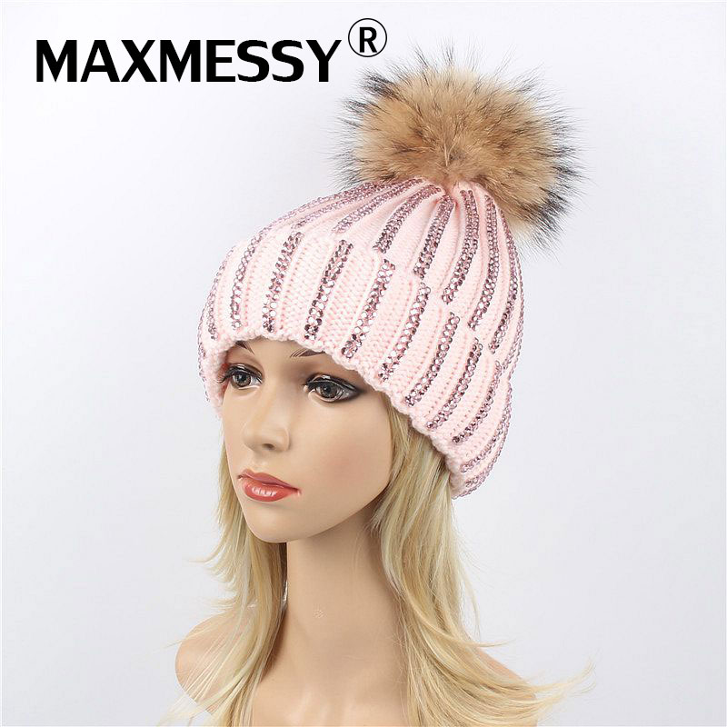 MAXMESSY Winter Hat For Women Knitted   Skullies     Beanies   Raccoon Fur Warm Ear Rhinestones Thickened Hat Multicolor Cap MH126