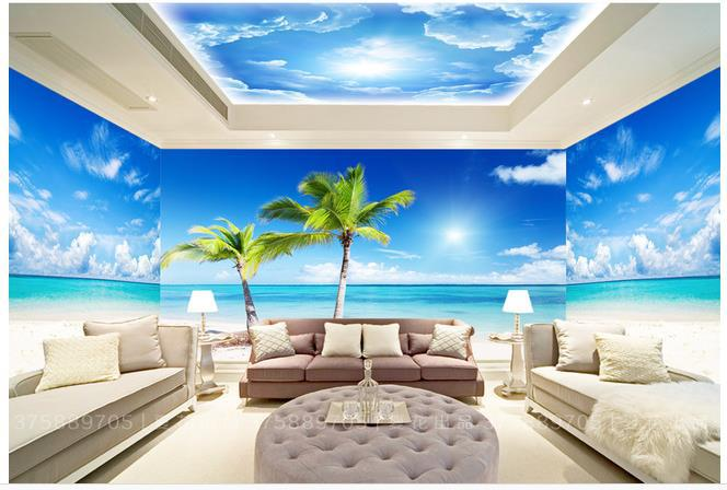 Beach wall murals cheap for Beach mural wallpaper