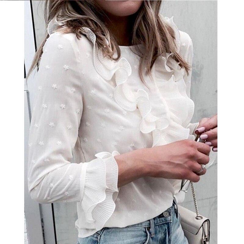 À Longues Femmes Nouveau Volants Travail Des Manches Parti Dentelle Volant Bureau Top Shirt Blouse EISqq1w