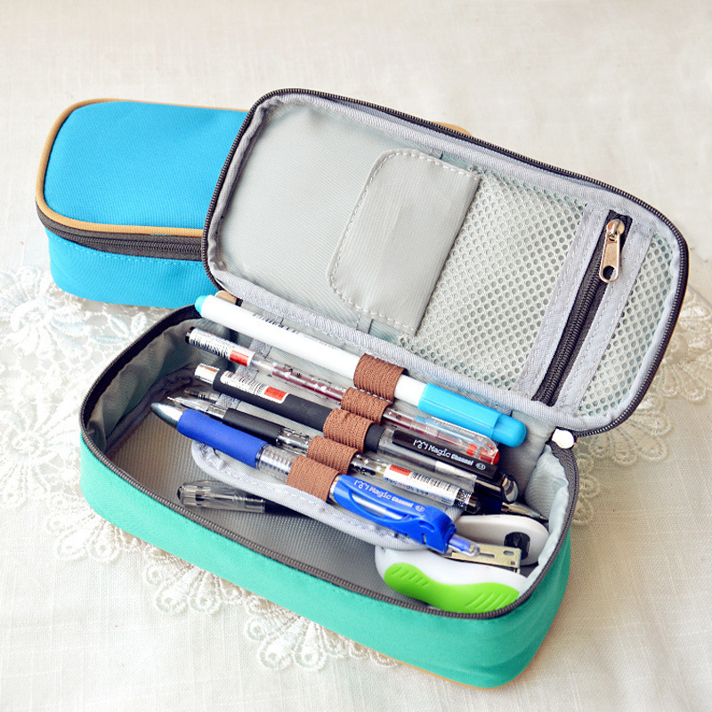 Korea Magic Channel Large Capacity Multifunctional Canvas Pencil Cases Big Leather Pen Bags Box for Boys Girls School Stationery high quality canvas large capacity solid color school multifunctional boys pencil case pen holder bag stationery penalty 04921