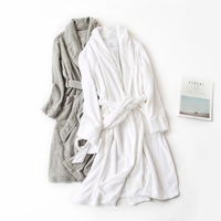 Winter Robes For Women long sleeves Cotton towel cloth Pyjamas Solid Color Men and Women couples match Sleep Robes
