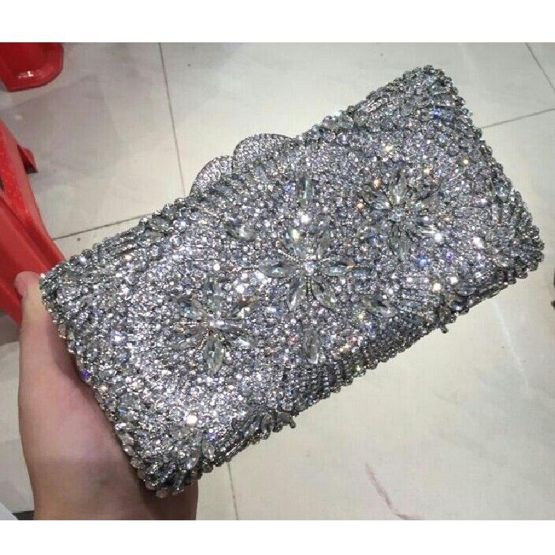 ФОТО 8338S silver Crystal Flower Floral Fashion Wedding Bridal hollow Metal Evening purse clutch bag case box handbag