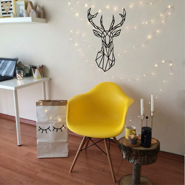 Online Shop Geometric Deer Head Wall Sticker Modern Home Decor ...