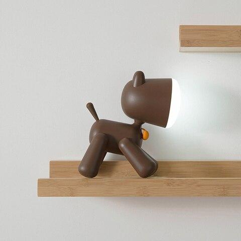 forma led night light silicone animal dos desenhos animados do cao pode ser escurecido lampada