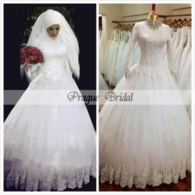 Top Quality High Neck Arabic Hijab Muslim Wedding Dresses with Long Sleeves  2016 New Arrival Appliques Lace White Bridal Gown 0c494c2d671c