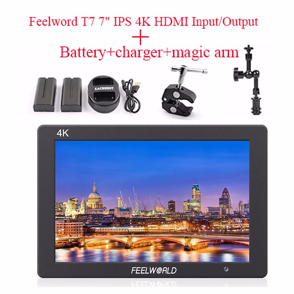 Feelworld T7 4K HDMI Input/Output On-Camera Monitor Full HD 7IPS Screen Display Monitor+Battery+charger+magic arm for Camera