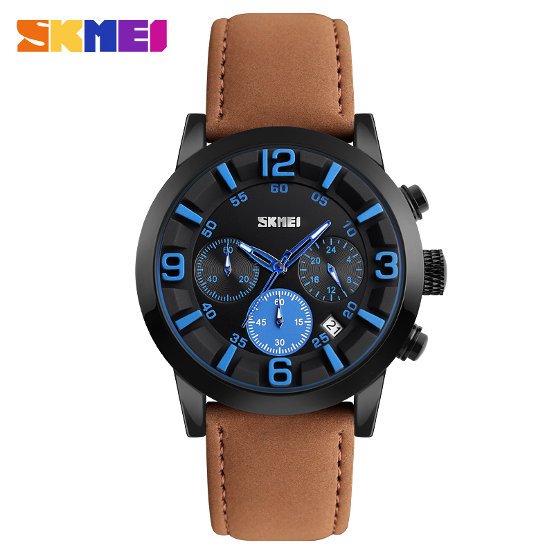 SKMEI Men Watches Men's Quartz Military Watches 3D Face Leather Clock Man Sports Watches Casual Watch Relogios Masculino 9147