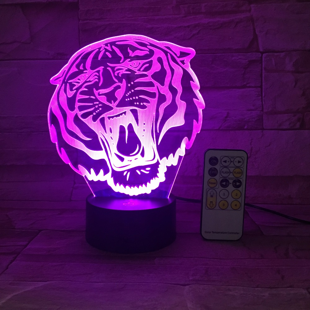 Lion Tiger LED Night Light RC Remote Touch Control 3D Animal Decor USB Lamp Toy Gift Luminarias 7 Colors Flash Change Color Gift beiaidi 7 color usb rechargeable rabbit led night light dimmable animal cartoon light with remote baby kids christmas gift lamp