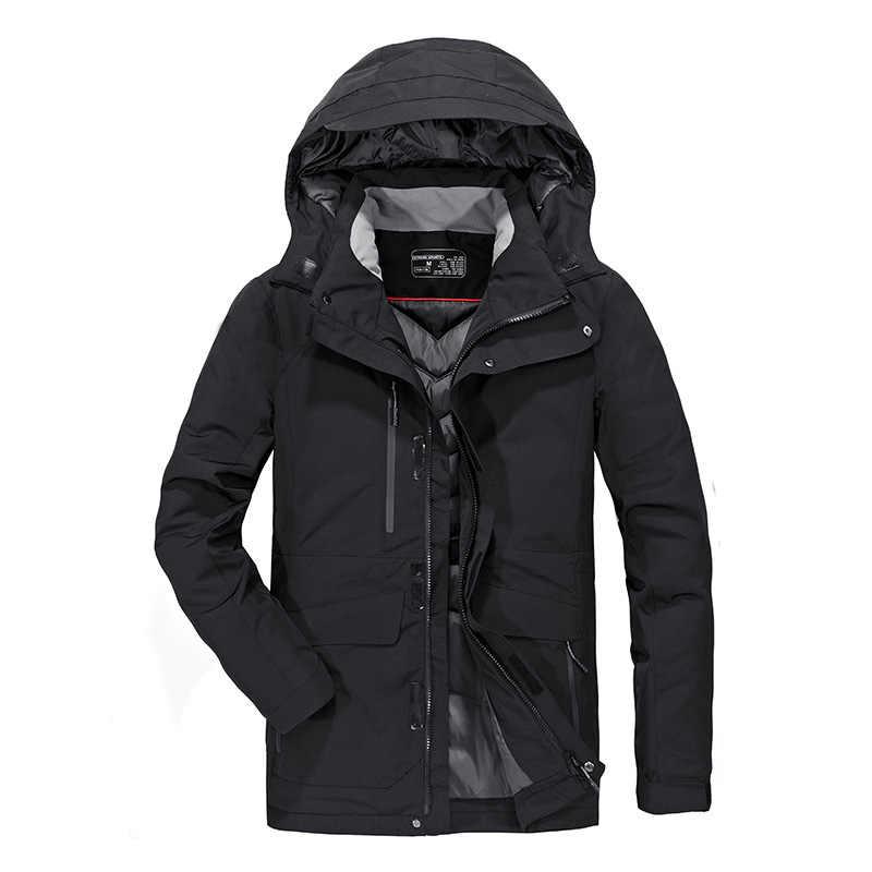 2018 chaqueta de plumón para hombre Parka de invierno gruesa cálida sudaderas con capucha de alta calidad abrigo de plumón de pato blanco para hombre ropa de marca outcoat