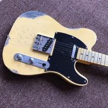 Best NEW!High Quality yellow  guitar , hot selling  electric Guitar,  Electric Guitar with  milk white new handwork aged relic electric guitar with ash body in yellow color st electric guitar real photo showing hot free shipping