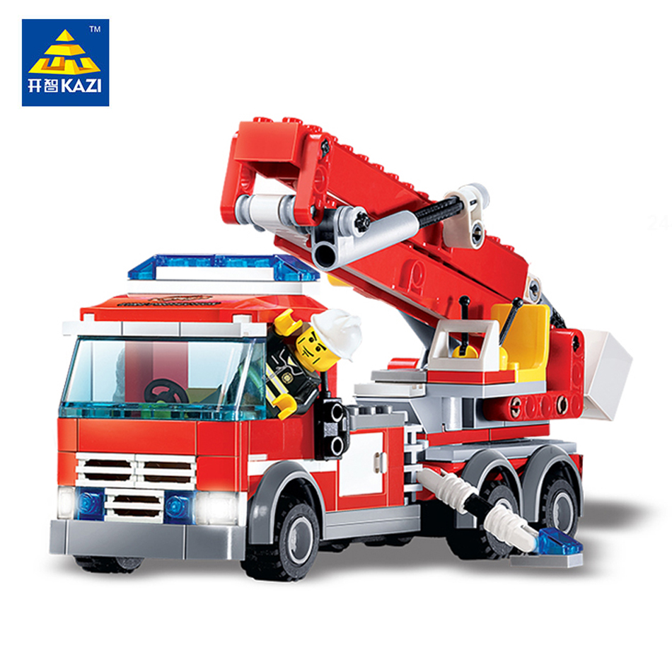 KAZI Toys City Series Building Blocks DIY Fire Fighting Truck Bricks Sets Educational Toys For Kids Compatible Legos City Toys banbao 8313 290pcs fire fighting ladder truck building block sets educational diy bricks toys christmas kids gift